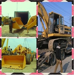 Used CATERPILLAR 325BL Excavator and CAT 950E Loader Loading