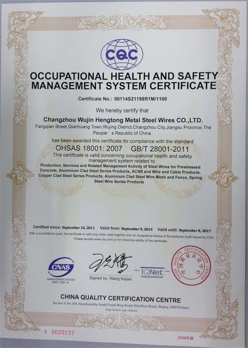 OCCUPATIONAL HEATTH and SAFETY MANAGEMENT SYSTEM CERTIFICATE
