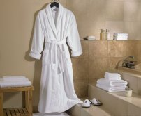 Luxury white terry bathrobe