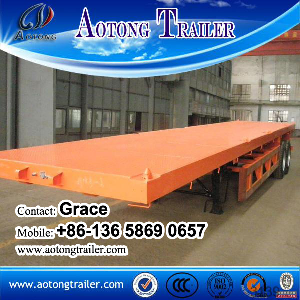 China Factory Tri-Axles Flatbed Co<em></em>ntainer Semi Trailer on Sale