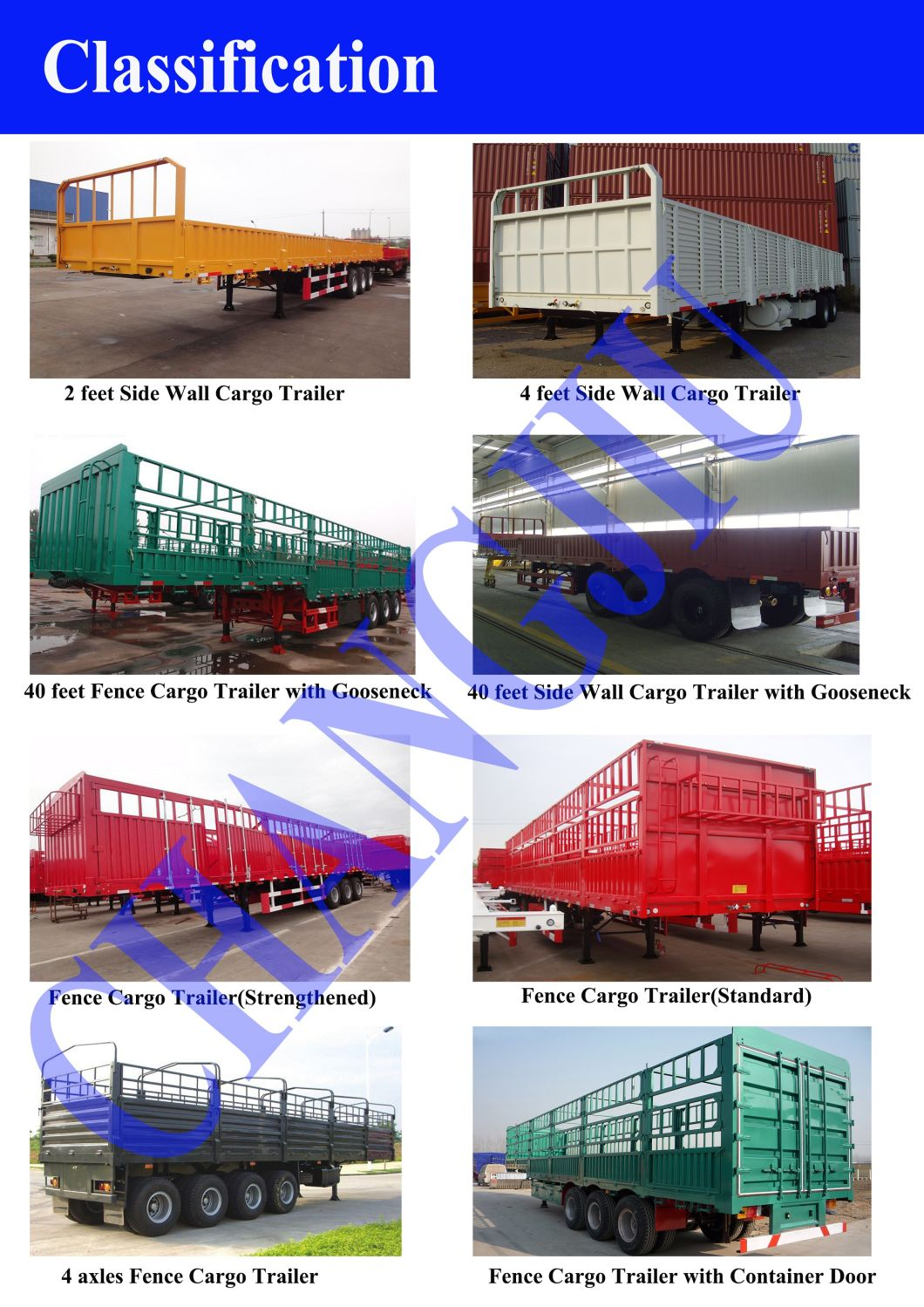 3 Axles 13m Cargo Semi-Trailer with Detachable Side Walls