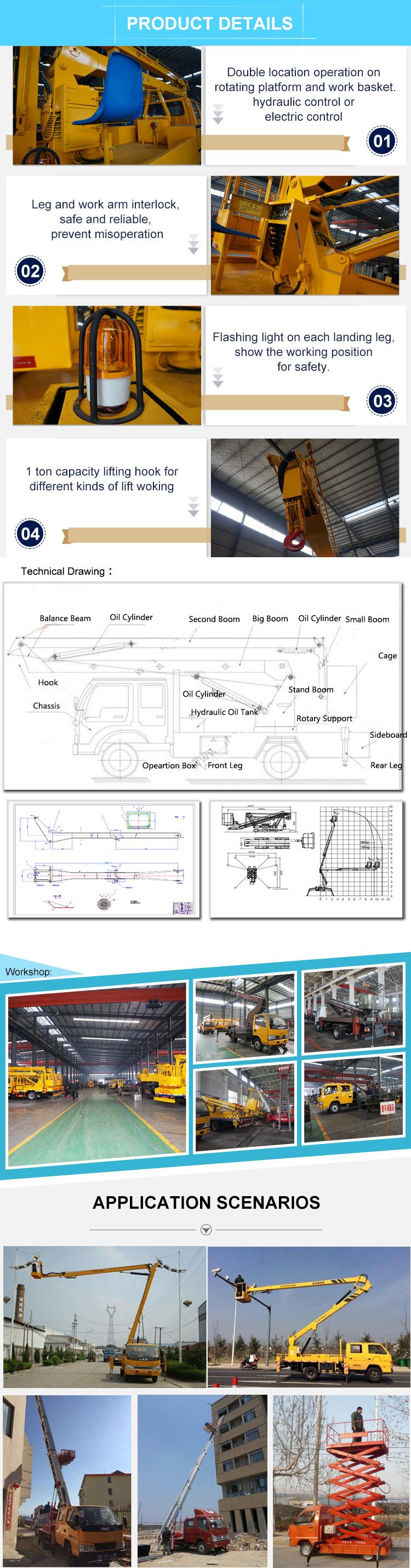 Lift Bucket on Hydraulic Platform Cherry Picker New Aerial Truck for Sale