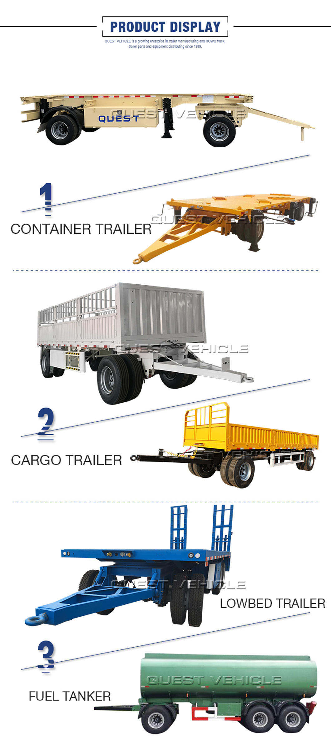 2axles 30 Ton Cargo Fence Turnable Towing Drawbar Full Trailer