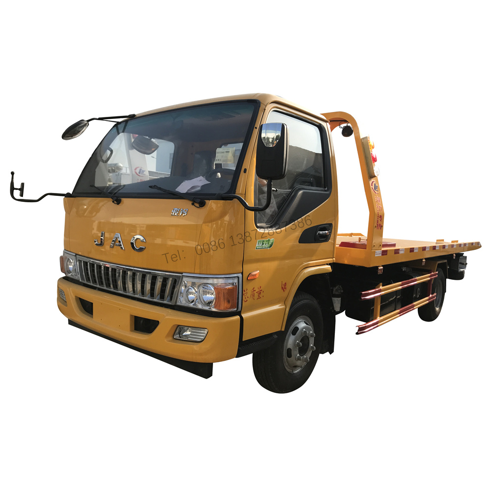 Good Quality JAC 4X2 140HP 120HP 0 Degree Flatbed Wrecker Towing Truck