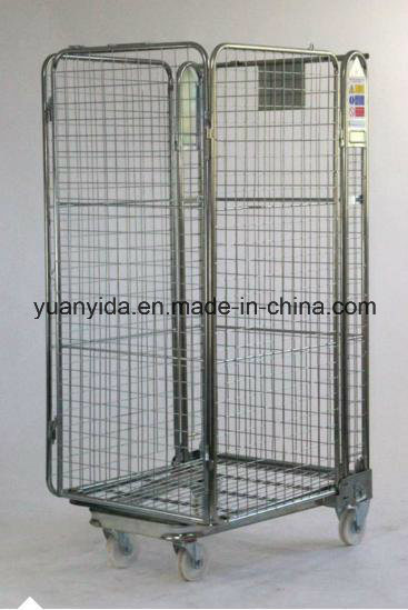 4-Sided Warehouse Folding Wire Mesh Roll Containers/Roll Pallet/Hand Trolley