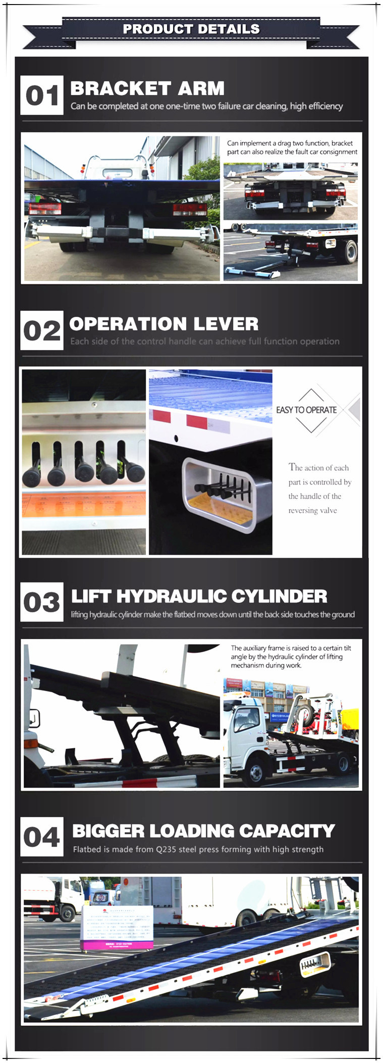 Jmc Brand 4X2 Hydraulic Winch 4 Ton Towing Car Flat Bed Wrecker Truck with Wheel Lift (half landing or full landing)