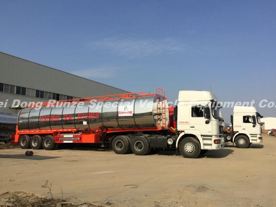 3 Axles Insulated Hot Bitumen Tanker Trailer 45cbm (Liquid Asphalt Tank Semitrailer) with Two Burner Heater Insulation Layer Rock Wool Puf 80mm Stainless Steel