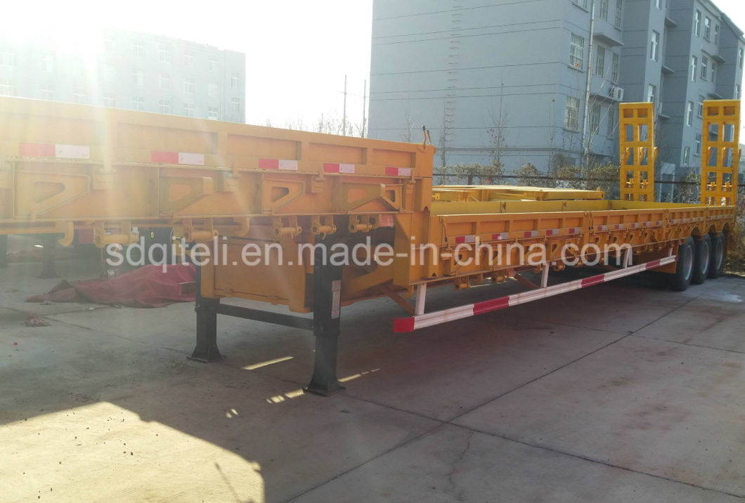 13m 3 Axles Lowbed Semi Trailer 50ton for Co<em></em>nstruction Machines