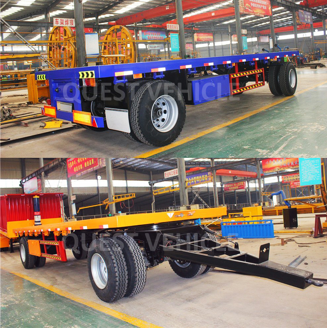 2 Axle 20FT Flatbed Full Trailer Draw Bar Trailers
