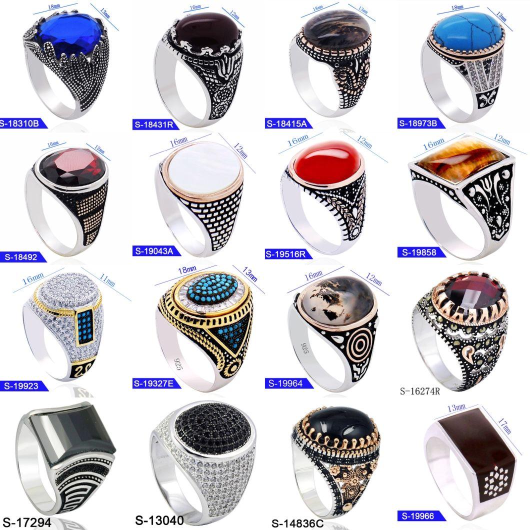 New Design Islamic Jewelry 925 Sterling Silver Gemstone Mens Finger Rings for Hotsale