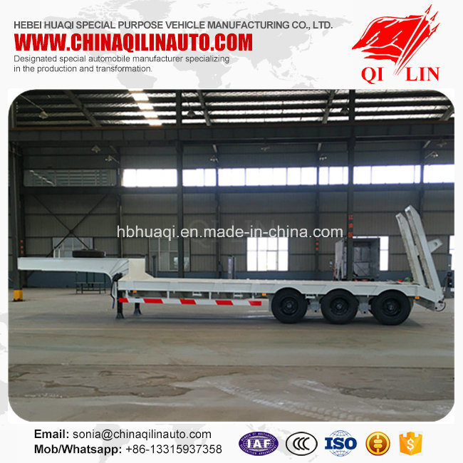 3 Axles 60 Tons Payload Low Bed Truck Semi Trailer