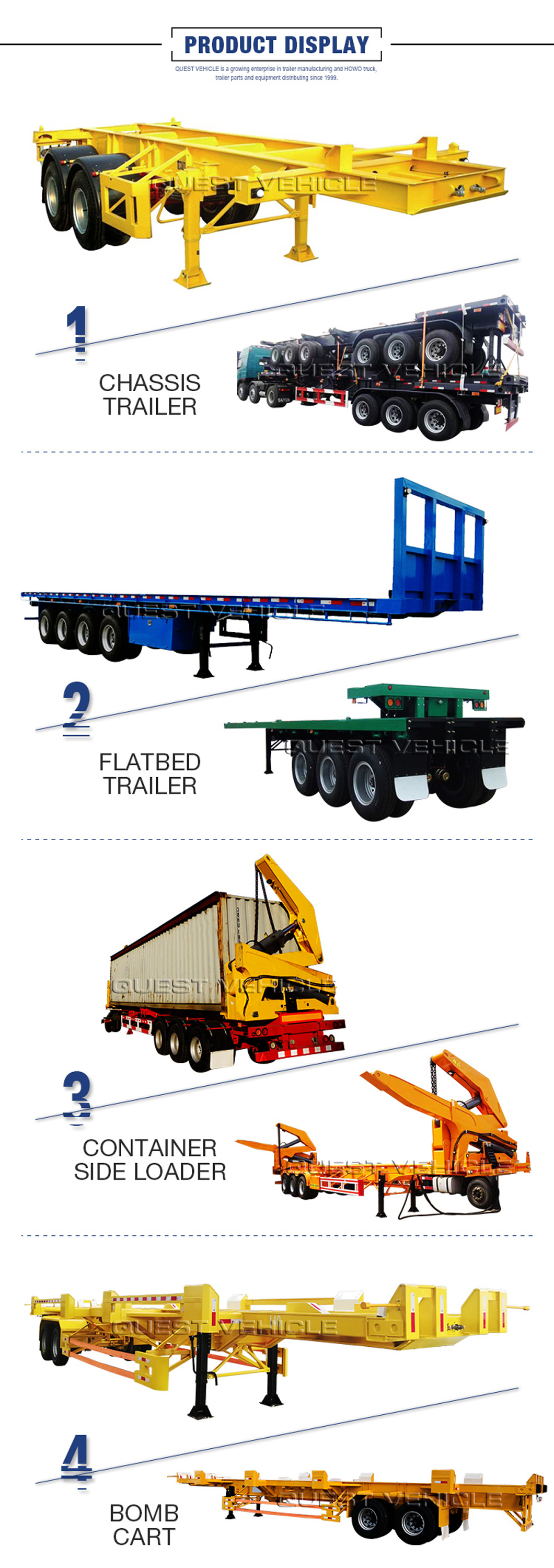 Quest Truck Trailer Manufacturers 40feet 3axles Flatbed Co<em></em>ntainer Semi Trailer