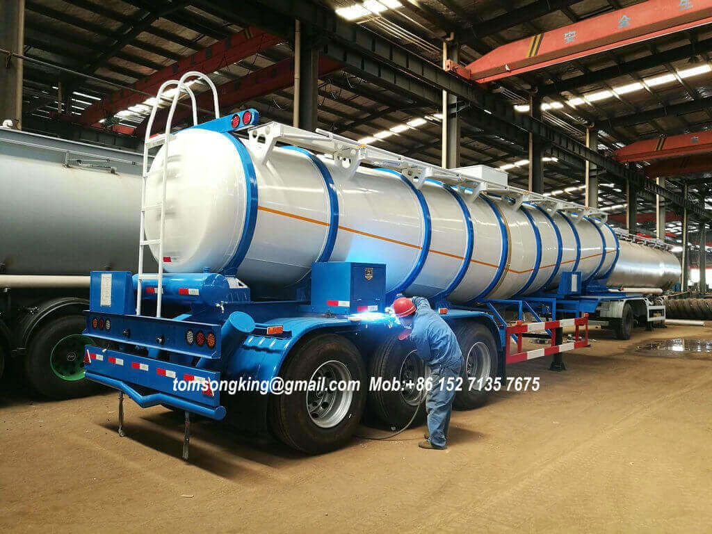 V Shape Co<em></em>ncentrated Sulfuric Acid Tank Trailer Loading 99.8% H2so4 Transport 40 Ton 22000liters