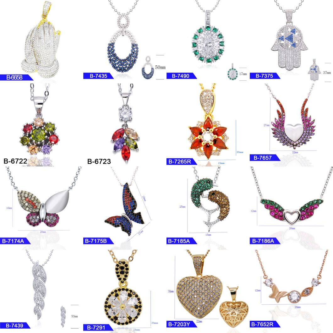 New Model 925 Sterling Silver or Brass Bridal Jewelry Multicolor CZ Stone Pendant for Women