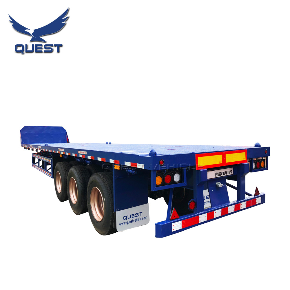 40FT 60 Tons Co<em></em>ntainer Flat Bed Semi Trailers Platform Trailer