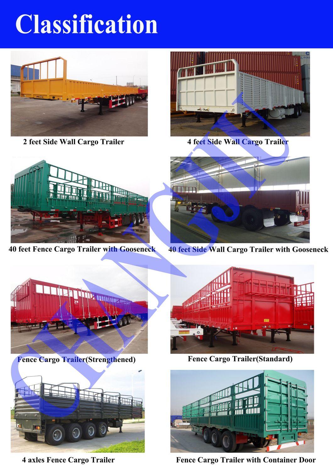3 Axles Side Wall Cargo Truck Semi Trailer