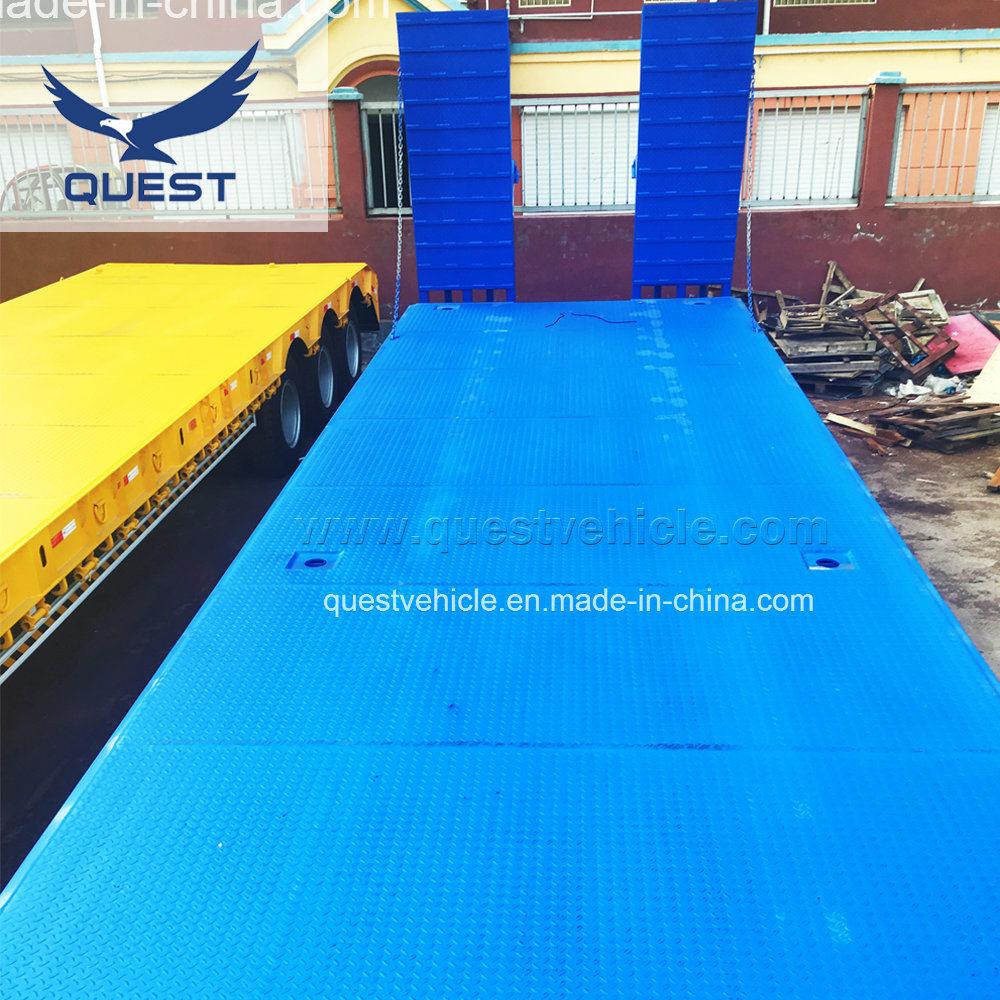 Quest 60ton Tri-Axle Heavy Duty Low Bed Truck Semi Trailer