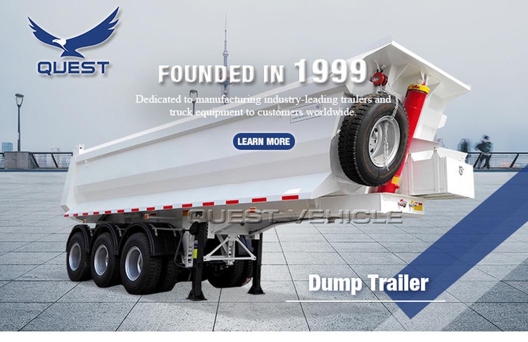 Quest 3axles 30cbm-50cbm Rear Dump Truck Tipper Semi Trailer