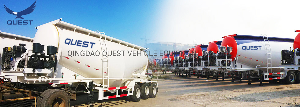Quest Top Sale Powder Cement Mixer Bulk Bulker Semi Trailer