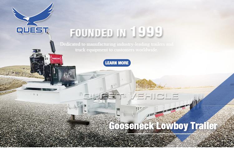 Quest 3axle 60-80ton Heavy Hydraulic Front Loading Lowboy Truck Trailer