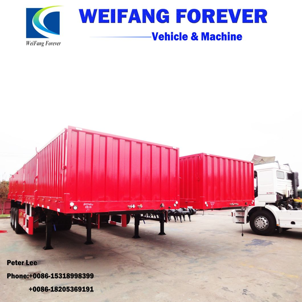 50tons 3axle Flatbed Cargo Semi/Truck Trailers with Side Wall