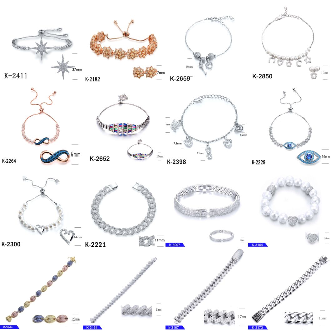 Wholesale Silver Fashion Jewelry CZ Diamond Tennis Bracelet for Women