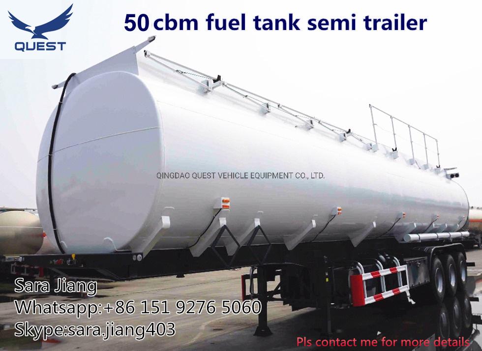 Quest 4compartments 42cbm Fuel Tanker Truck Trailer for Sale