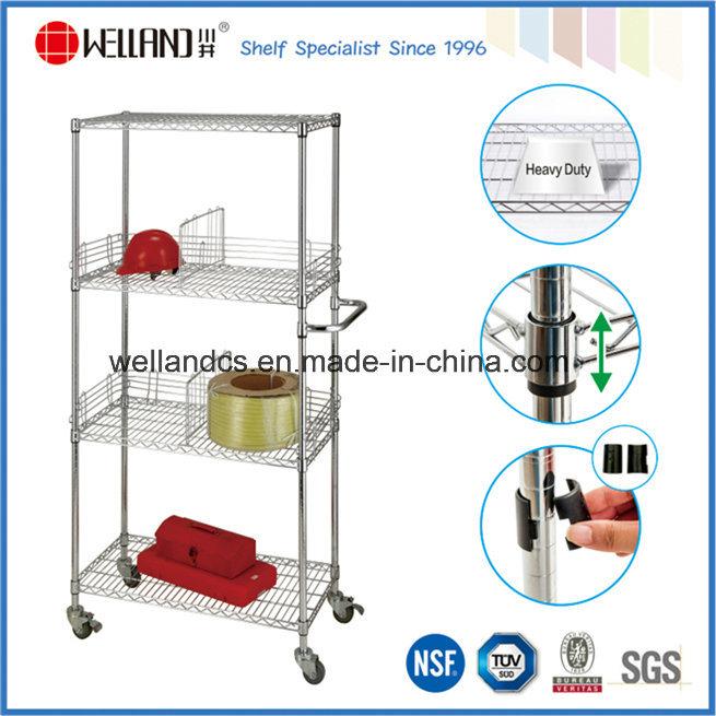 NSF Chrome me<em></em>tal Bin Wire Storage Cart for Store/Warehouse