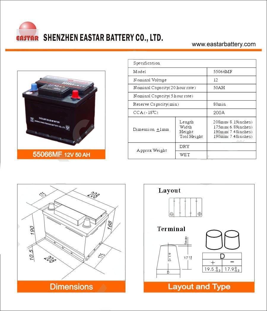 DIN-Standard 12V 50ah Battery Car Battery Truck Battery