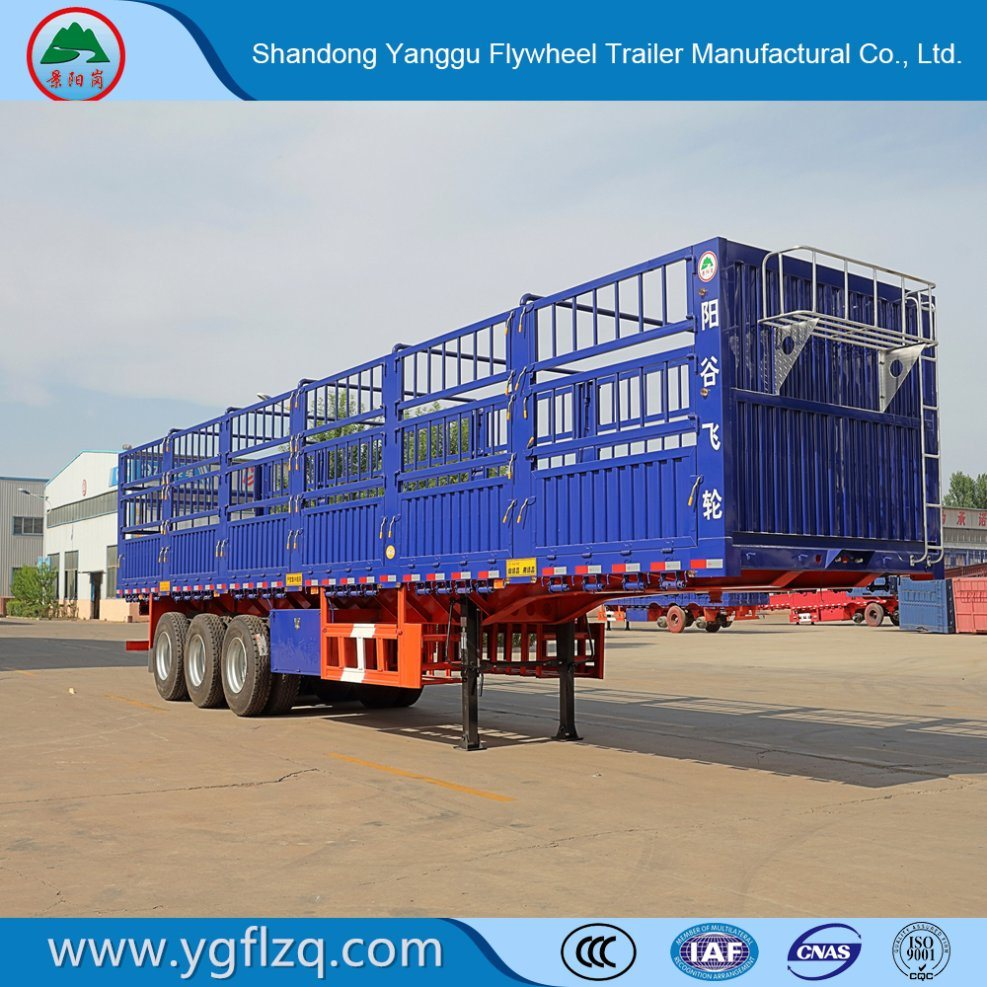 ISO9001/CCC Certificate Tri-Axle 60 Tons Stake/Fence Truck Semi-Trailer for Livestock Transport
