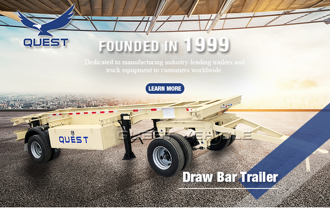 Quest Turntable 30ton Flatbed Side Wall Dolly Drawbar Full Trailer