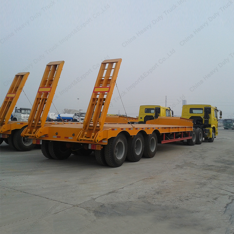 3 Axles Flatbed Co<em></em>ntainer Carrier Low Bed Semi Trailer Truck Trailer