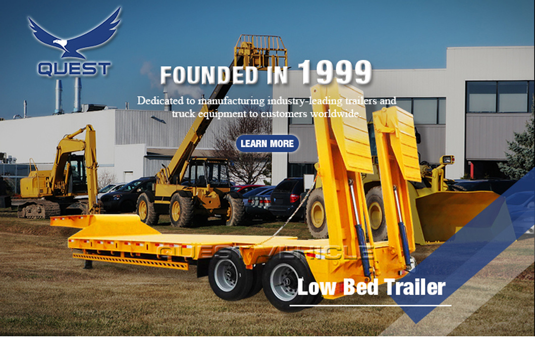 60ton Low Loader Low Platform Bed Semi Trailer with Ladder