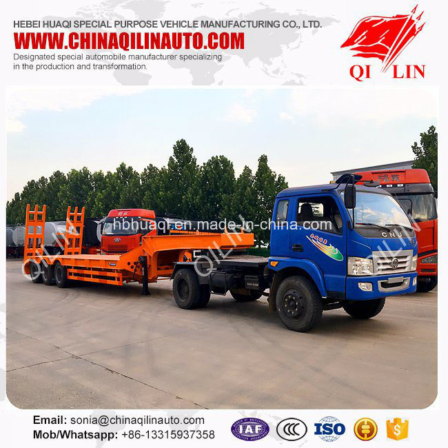 Curb Weight 8500kg Low Bed Semi Trailer with 8000mm Platform for Cheaper Sale