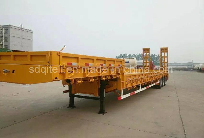 3 Axles Heavy Truck Trailer/ 60tons Heavy Duty Lowbed Semi Trailer