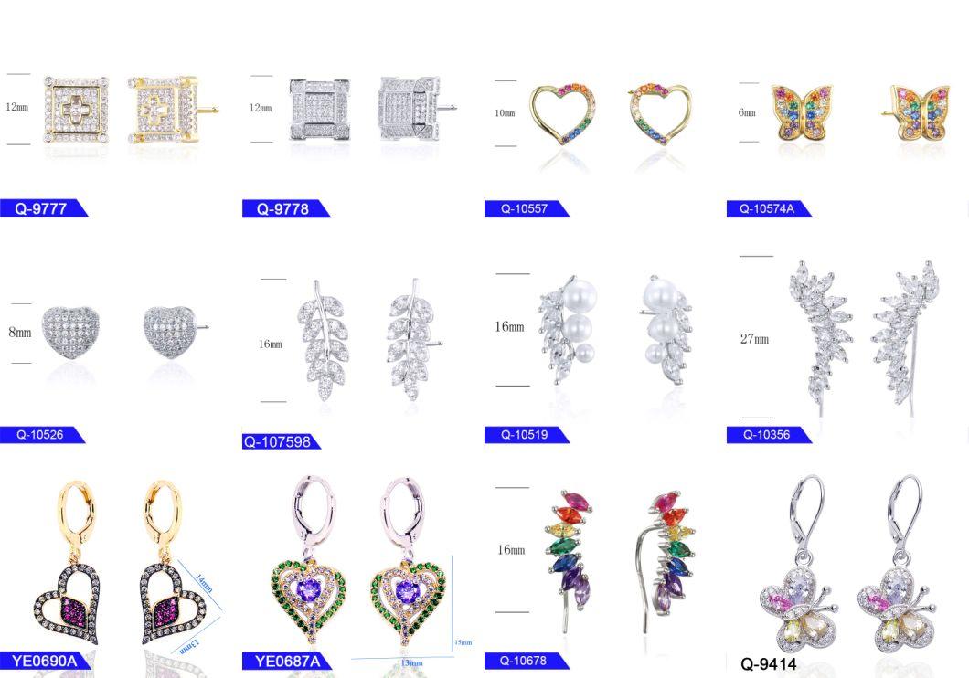 Latest Design Handmake Fashion Jewellery 925 Sterling Silver or Brass Cubic Zirconia Stud Earrings for Women