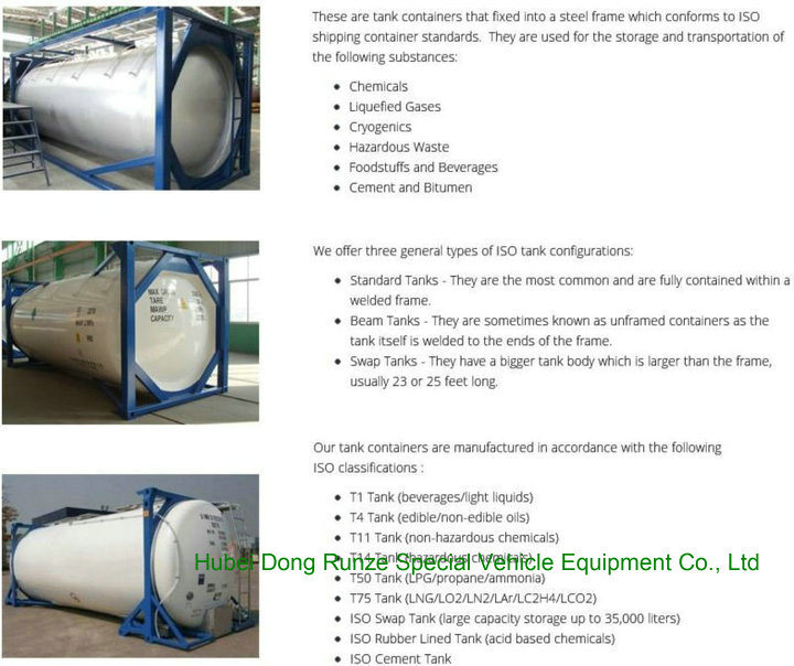 CH3cl ISO Tank Co<em></em>ntainer for Liquid Chloromethane 30FT Co<em></em>ntainer Trailer Road Transport (methyl chloride, chloromethane, CH3Cl) Un1063 Un1912 Gas Pressurized