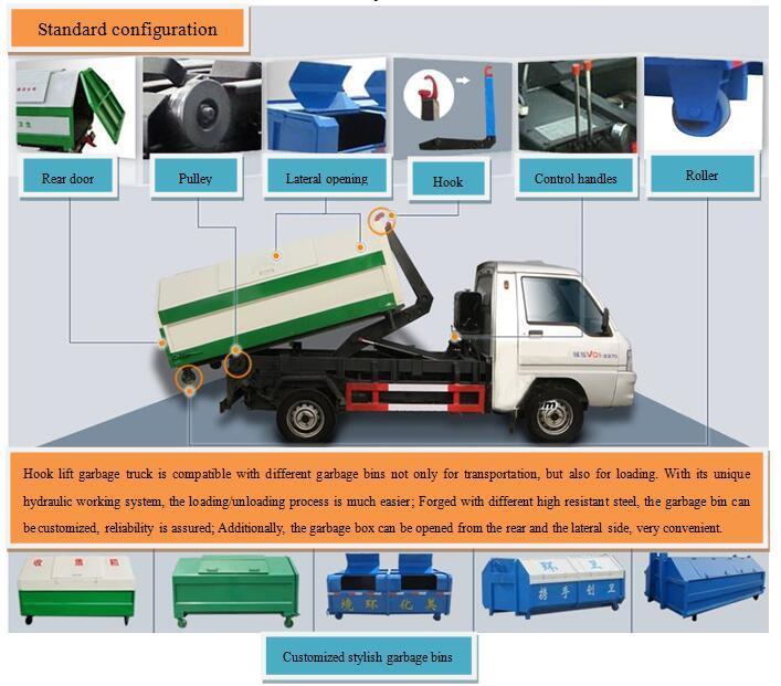 4X2 Hook Lift Garbage Mini Truck Trash Truck for Municipal Purpose