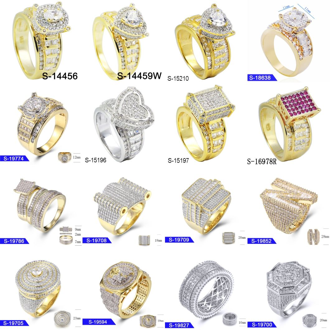 Wholesale New Design Sterling Silver Fashion Fine Jewelry 14K Gold Plated Cubic Zirconia Hip Hop Ring for Men