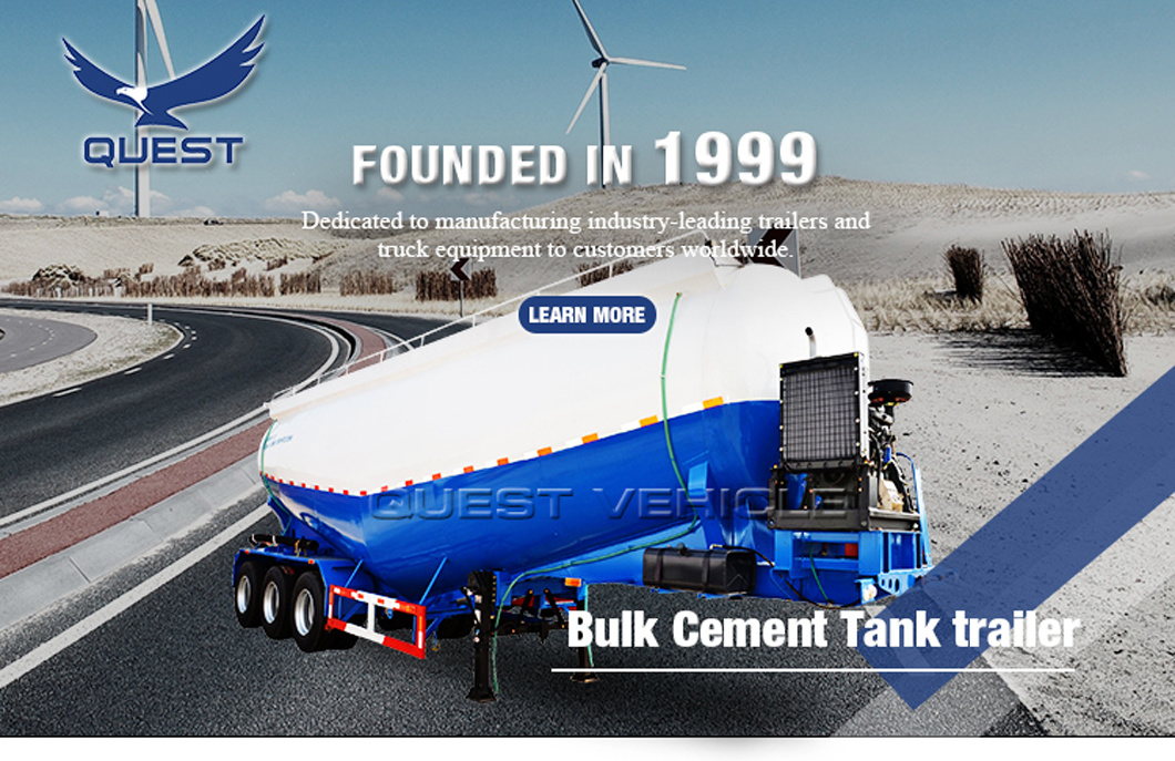 Quest 37cbm Volume Tri-Axle Tanker Cement Bulk Truck Trailer