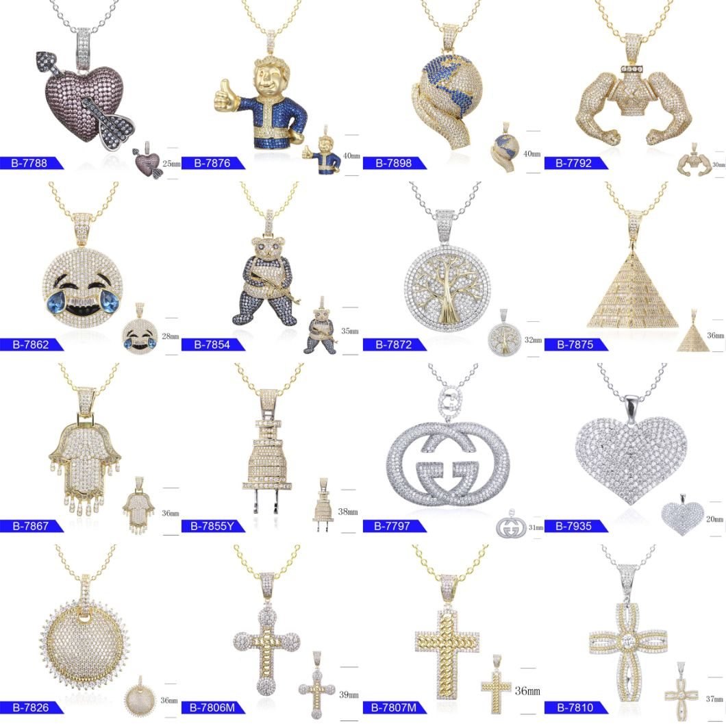 Popular Hip Hop Fashion Jewelry Sterling Silver or Copper Cubic Zirconia Pendant Charms