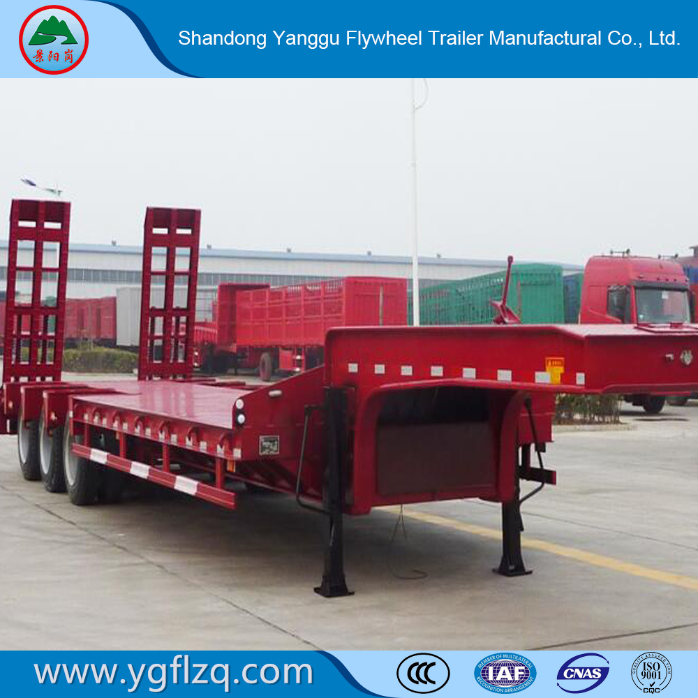 China Famous Brand BPW/Fuwa Axle Low Bed Semi Trailer for Sale