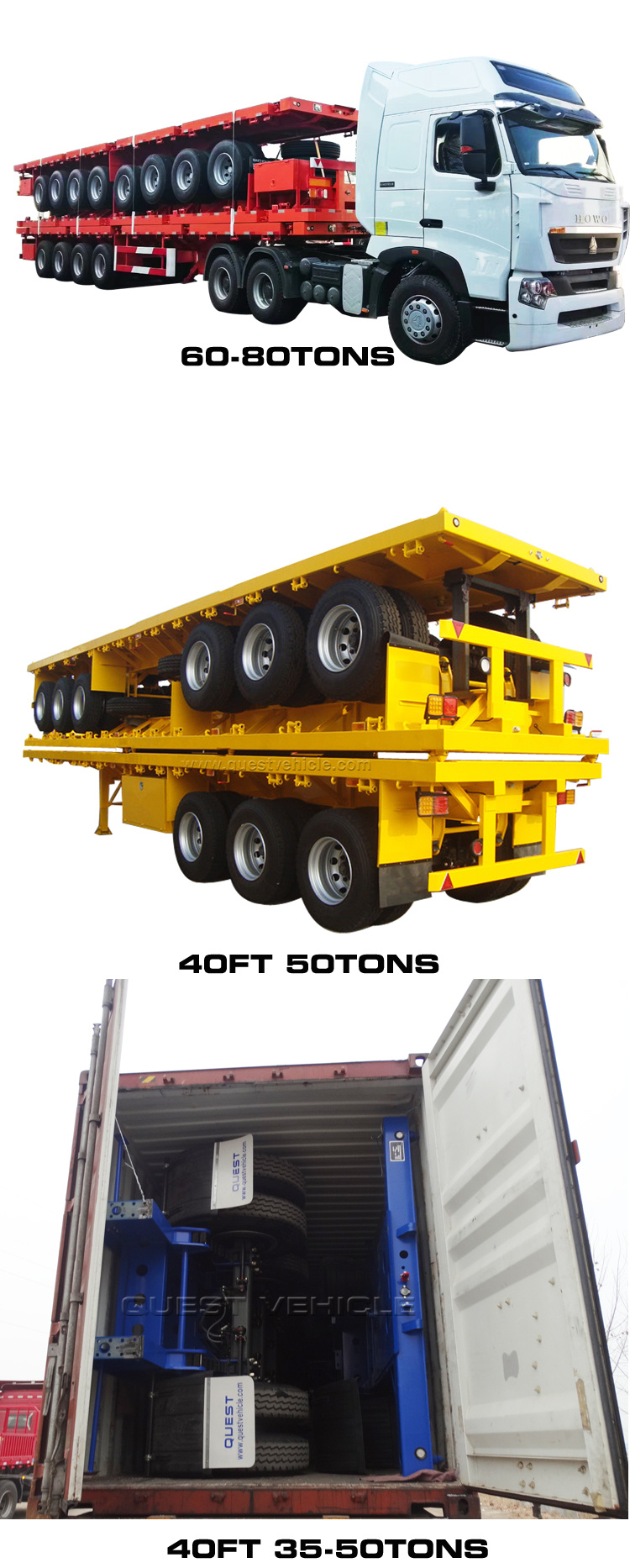Quest China 80ton Co<em></em>ntainer Truck Trailer 4 Axles Flatbed Semi-Trailer