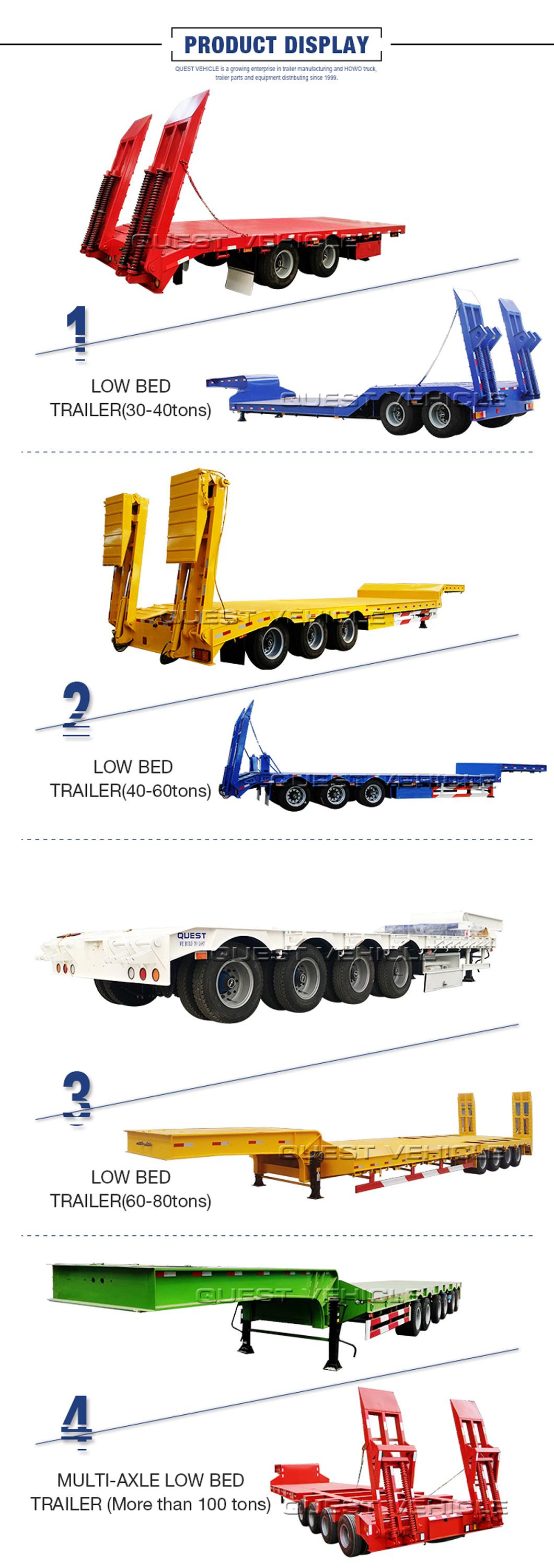 60tons Heavy Duty Machine Loader Truck Semi Low Bed Trailer