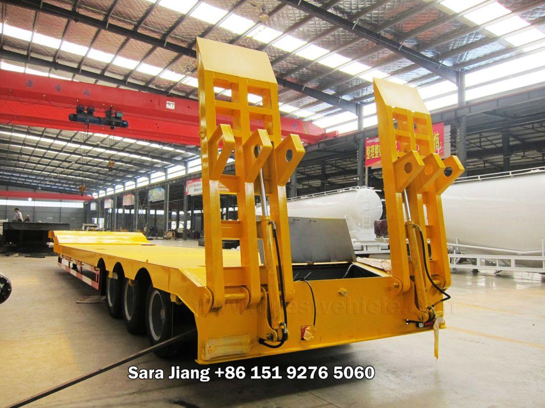 60-80ton 3axle Hydraulic Lowboy Truck Flatbed Semi Low Bed Trailer
