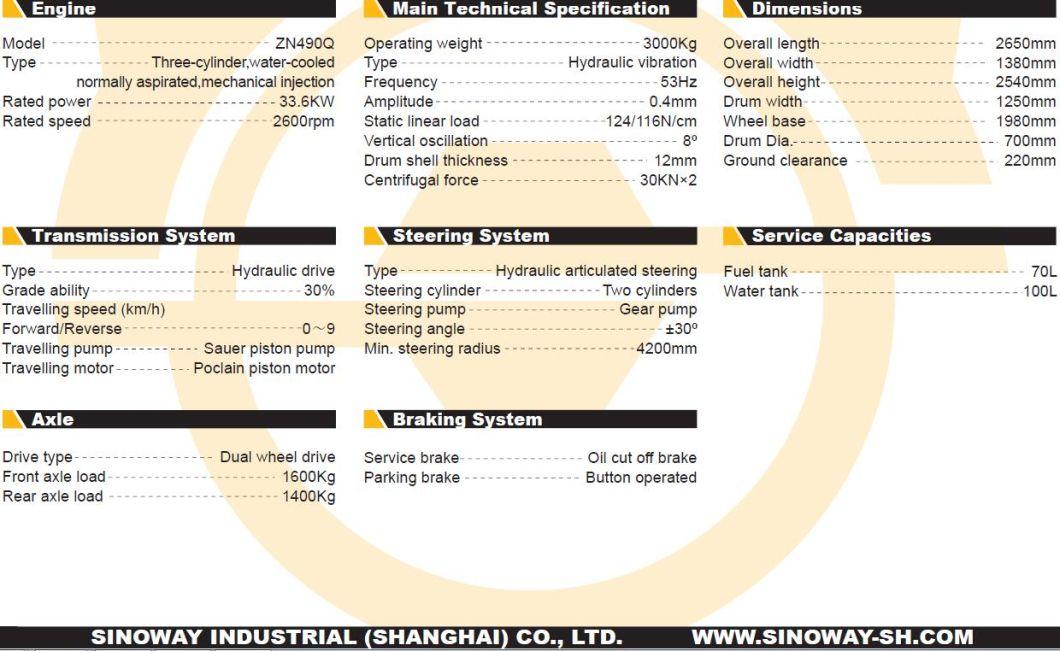 3 Ton Tandem Vibratory Roller/Double Drum Vibratory Road Roller