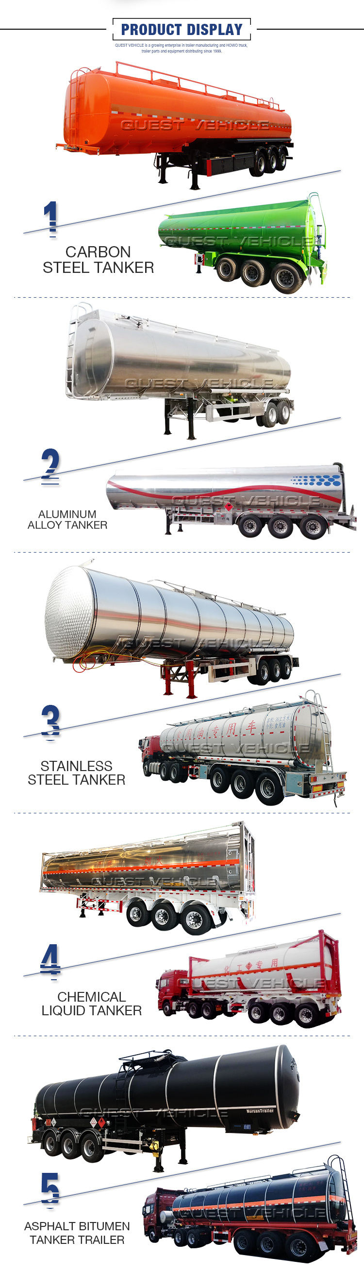 3axles Carbon Steel 45000 Liters Oil Fuel Tank Semi Trailer