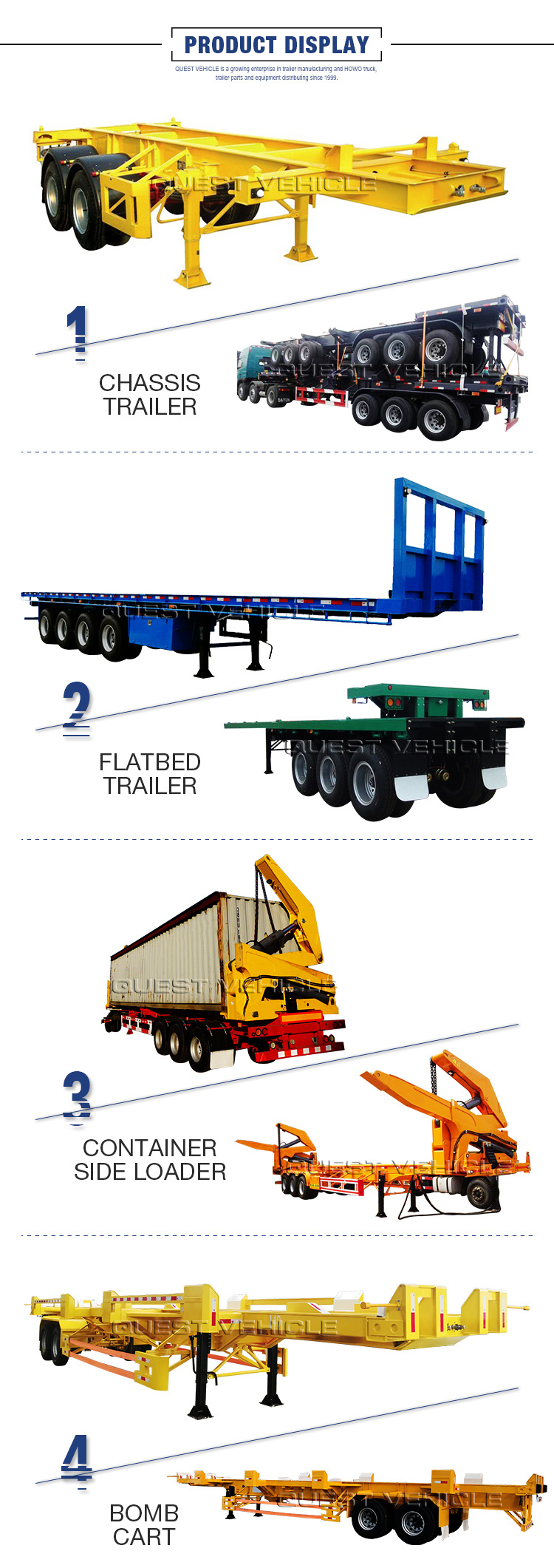 40FT Co<em></em>ntainer Hauler, 3 Axles High Bed, Flatbed Semi Trailer