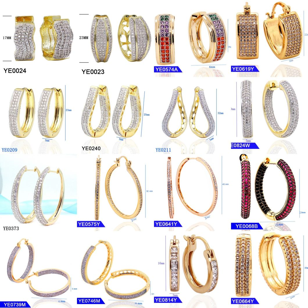 New Design Fashion Jewelry 925 Sterling Silver or Brass Cubic Zirconia Small Huggie Hinged Hoop Earrings for Women