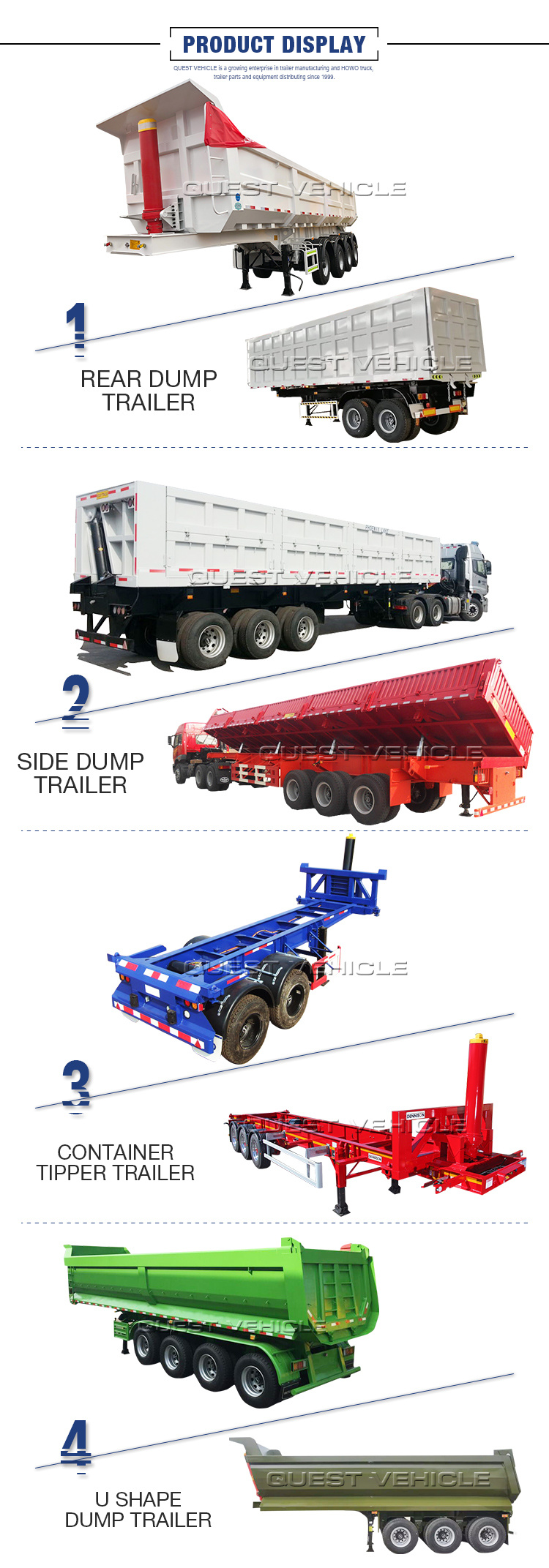 2 Axles Bogie Suspension 30m3 Rear Tipper Semi Trailer